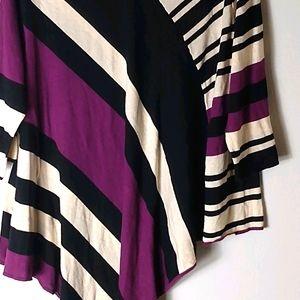 NY Collection Purple Black Striped Poncho 3X Plus